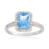 14K Two-Tone Gold Emerald Cut Blue Topaz & Diamond Thin Ring