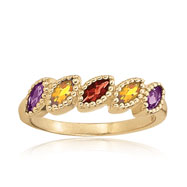 14K Amethyst, Citrine, Rhodolite Garnet & Smoky Quartz Shapes Design Stackable Ring