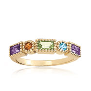 14K Gold Amethyst, Blue Topaz, Citrine & Peridot Shapes Stackable Ring