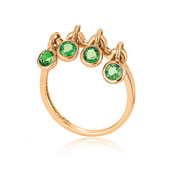 14K Rose Gold Peridot Chain Link Dangle Ring