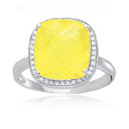 14K White Gold Diamond & Lemon Quartz Square Trimmed Ring