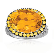14K White Gold Citrine, Yellow Sapphire & Diamond Large Oval Domed Antique Style Ring