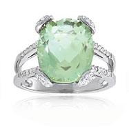 14K White Gold Diamond & Prasiolite Split Shank Ring