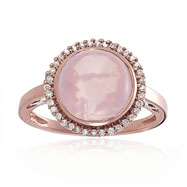 14K Rose Gold Diamond & Pink Quartz Long Oval Deisgner Ring