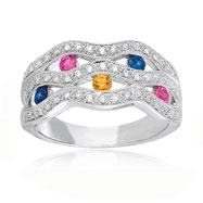 14K White Gold Diamond Blue, Pink & Yellow Sapphire Wave Design Ring