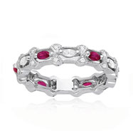 14K White Gold Diamond & Ruby Stackable Twisted Eternity Ring