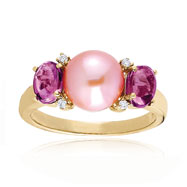 14K Diamond Pink Tourmaline & Freshwater Pearl Polished Fancy Ring