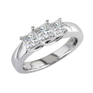 14K White Gold 2.50ct Diamond Princess Cut  Side Ring H-I I2