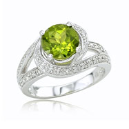 14K White Gold Peridot & Diamond Split Shank Circle Ring