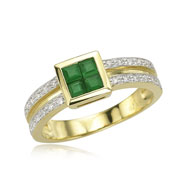 Square Emerald And Diamond Ring