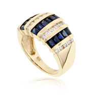 14K Yellow Gold Sapphire & Diamond Ladies Ring
