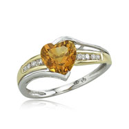14K Two-Tone Heart Shaped Citrine & Channel Set Diamond Ring