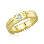 14K Ladies' Single Diamond Detailed Wedding Band