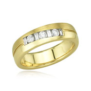 Round Baguette Diamond Wedding Band