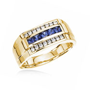 14K Yellow Gold Square Blue Sapphire & Round Diamond Ring