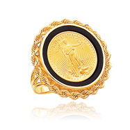 14K Yellow Gold 1/10oz Open-Backed Onyx Rope Bezle-Mounted American Eagle Coin Ring
