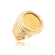 14K Yellow Gold 1/10oz Rippled Shank Bezel-Mounted American Eagle Coin Ring