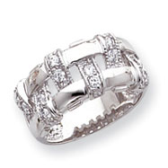 Sterling Silver CZ Mesh Ring
