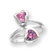 Sterling Silver Double Pink CZ Heart Ring
