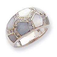 Sterling Silver CZ & Mother of Pearl Ring