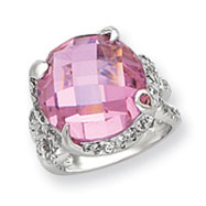 Sterling Silver 16mm Pink And Clear CZ Ring