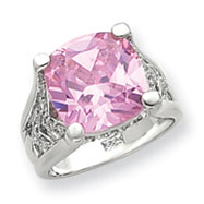 Sterling Silver 13mm Pink And Clear CZ Ring
