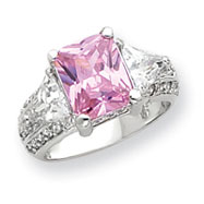 Sterling Silver 10x8mm Pink And Clear CZ Ring