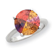 Sterling Silver 12mm Multicolored CZ Ring