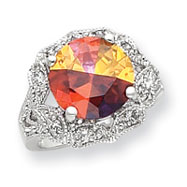 Sterling Silver 12mm Multicolored And Clear CZ Ring