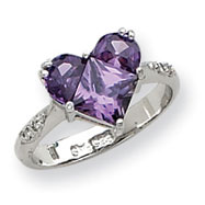 Sterling Silver Heart Purple CZ Ring