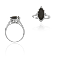 14K White Gold Smokey Quartz And Diamond Ring