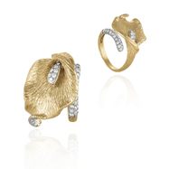 14K Two-Tone  Gold Diamonds Ring