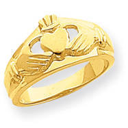 14K Gold Polished Ladies Claddagh Ring