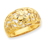 14K Gold Polished Plumeria Ring
