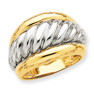 14K Two-Tone Gold Polished Twisted Dome Ring