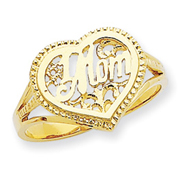 14K Gold #1 Mom In Heart Ring