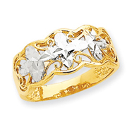 14K Gold & Rhodium Diamond Cut Wave Ring
