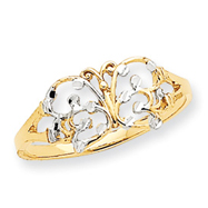 14K Gold & Rhodium Diamond Cut Butterfly Ring