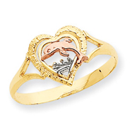 14K Two-tone Gold & Rhodium Dolphin In Heart Ring