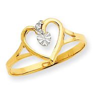 14K Gold & Rhodium Cut-Out Heart Ring