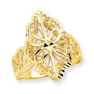 14K Gold Diamond Cut Filigree Ring