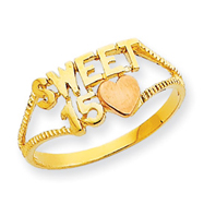 14K Two-tone Gold Sweet 15 Heart Ring