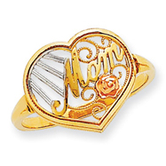 14K Two-tone Gold Mom With Rose Ring