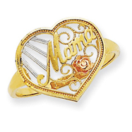 14K Two-tone Gold Mama With Rose Ring