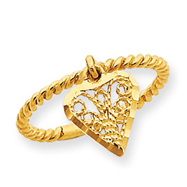 14K Gold Dangle Heart Ring