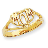 14K Gold Polished Mom Heart Ring