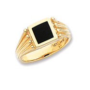 14K Gold Black Onyx Ring