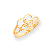 14K Gold Cross In Heart Ring