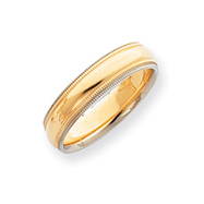 14k Two-Tone Gold 5mm Milgrained-Edged  Wedding Band