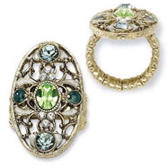 Brass-tone Green, Clear & Light Blue Crystals Stretch Ring